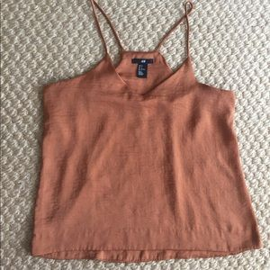 H&M V-neck Satin Camisole Top Brown 6/ M